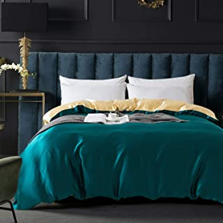 ZIMASILK 100% Mulberry Silk Duvet Cover,Both Sides 19 Momme Nature Silk Bedding Cover with Zipper Closure,Comfy &Soft,1 pcs(Two Colors:Peacock Blue+Champagne,Queen:88