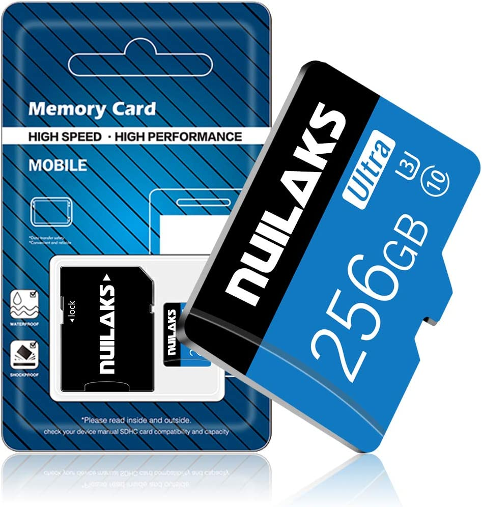 256GB Micro SD Card with Adapter (Class 10 High Speed), Memory MicroSD Cards for Camera, TF Memory Card for Phone, Dash Cam, Camcorder, GPS, Surveillance, E-Reader, Drone
