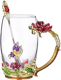 DELFINO Enamel Glass Mug Flower Crystal Clear Novelty Glass Tea Cup Coffee Cups Travel Mugs Elaborate Flower Handle and Be...