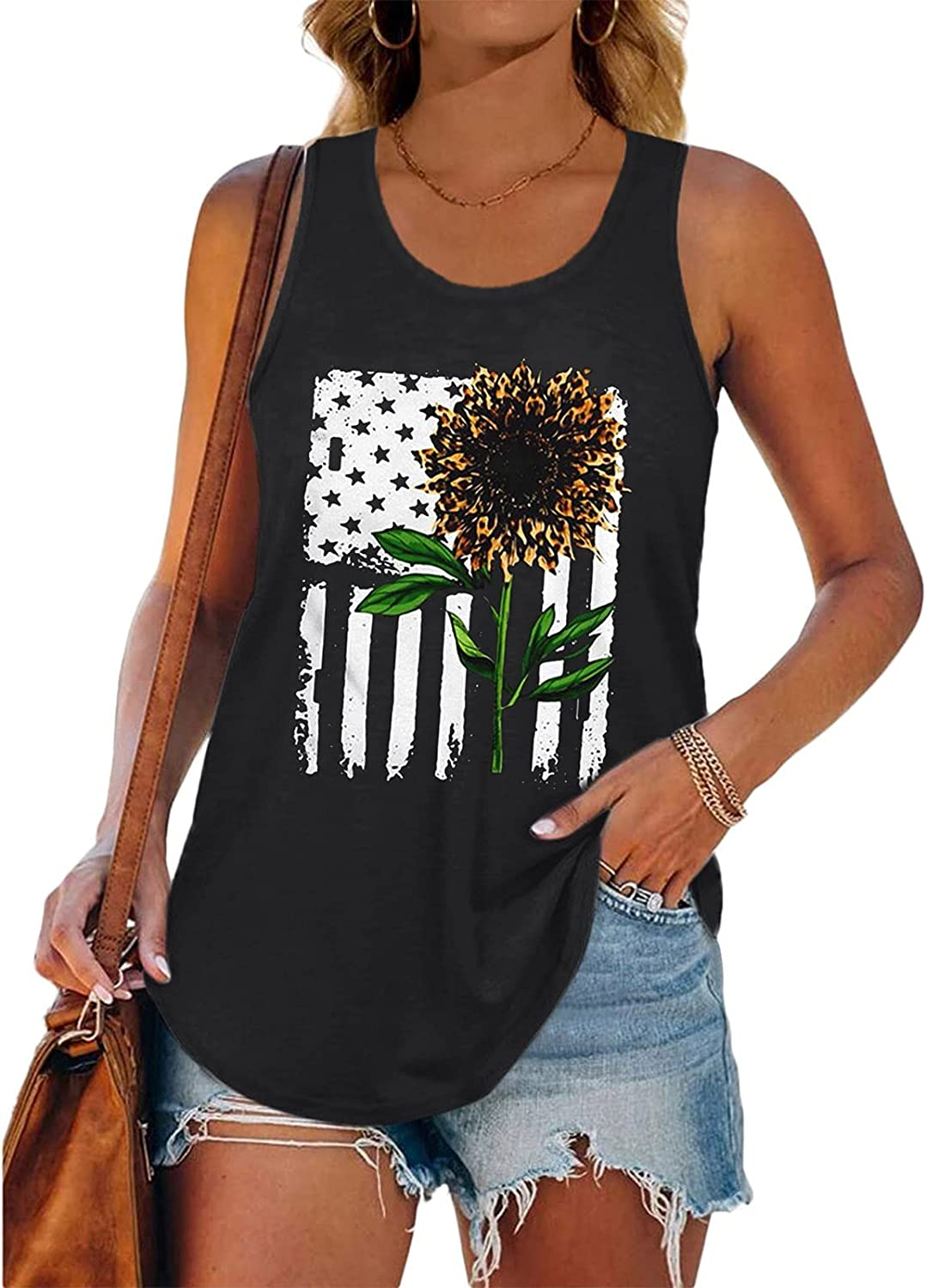 AODONG Tank Tops for Women, Womens 4th of July Casual Summer Sleeveless Vest Tshirt Workout Blouse Tank Top Tunic Tee