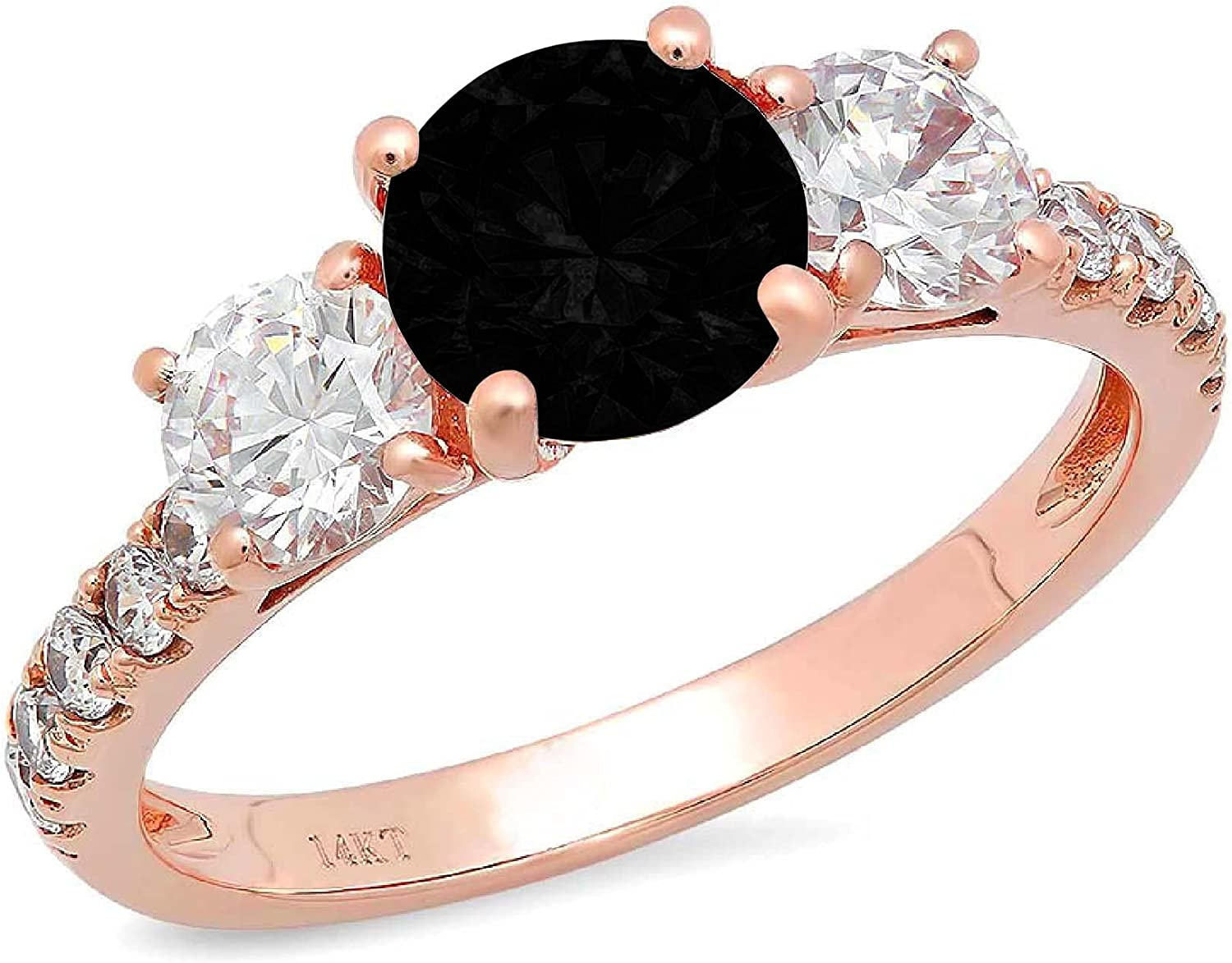 1.94ct Brilliant Round Cut Solitaire 3 stone With Accent Flawless Natural Black Onyx Gemstone Ideal VVS1 Engagement Promise Statement Anniversary Bridal Wedding Designer Ring 14k Pink Rose Gold