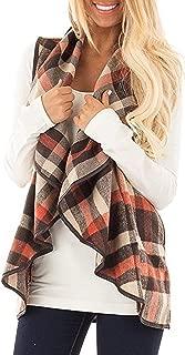 Womens Lapel Sleeveless Open Front Hem Plaid Vest Cardigan Jacket with Pockets