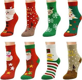 QHZHANG 8 Pack Women Christmas Socks Warm Fuzzy Fluffy Socks (A)