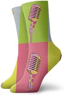 Tammy Jear, Micrófono colorido Calcetines de vestir frescos Calcetines divertidos Calcetines locos Calcetines deportivos de poliéster casual para mujeres Hombres Niños Niñas
