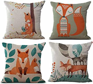 Fossrn Fundas Cojines 45x45, Tropical Geometría Animal Fox