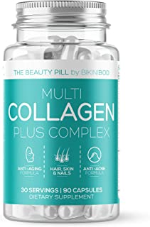 Collagen Pills -90 Capsules With Hyaluronic Acid, For Anti -Aging, Hair Growth & Nails, Acne, Healthy Joints & Skin  For Y...