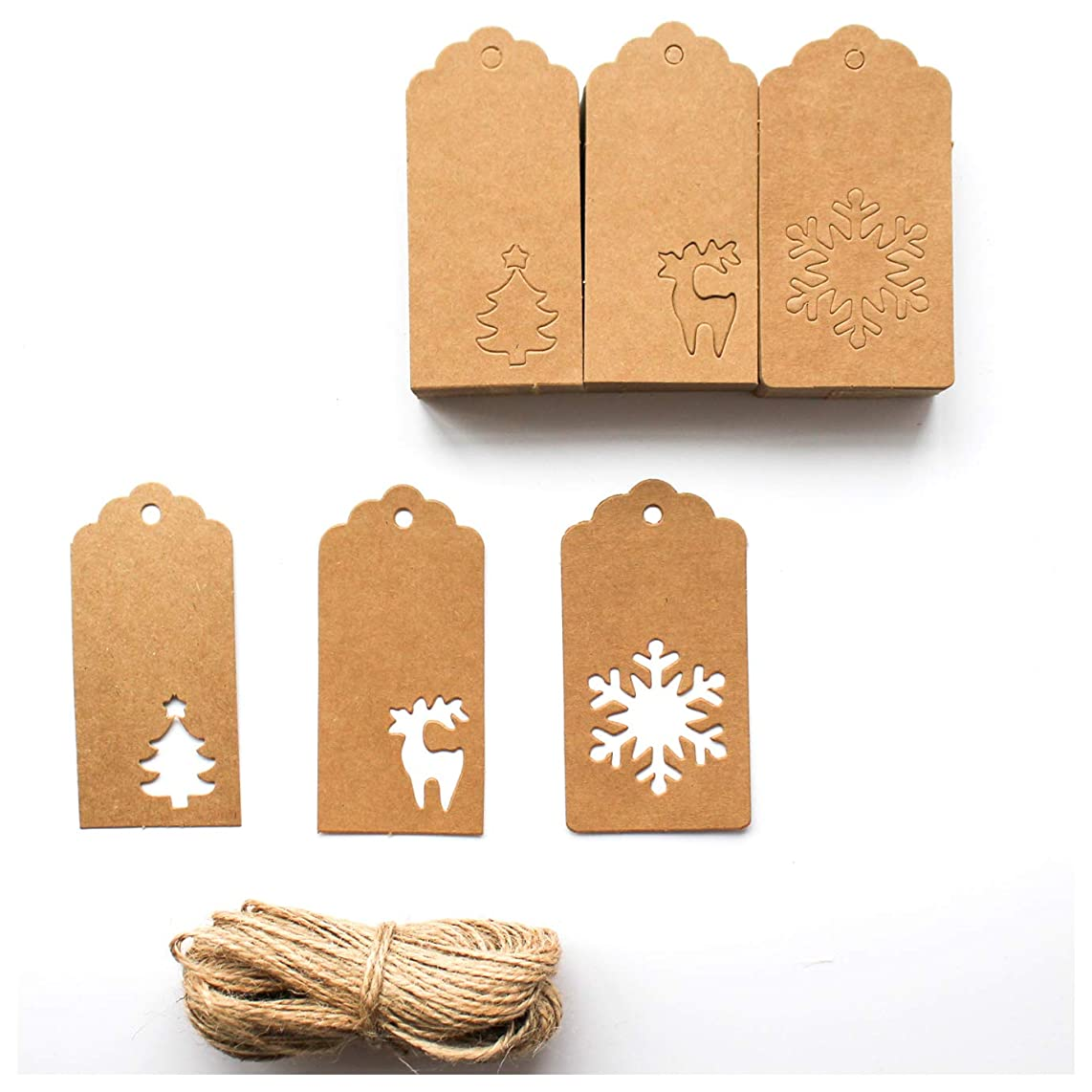 yisi 150 Pieces Paper Tags Kraft Christmas Tags Hang Labels Christmas Tree Snowflake Reindeer Design Favor,DIY Arts and Crafts Wedding Supply with 30 Meters Twine