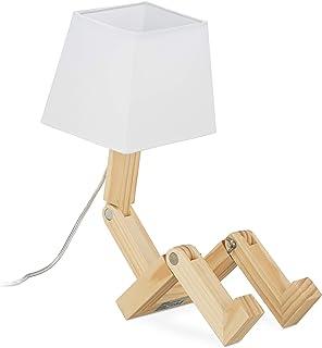 Relaxdays 10028033 Lampe Roboter, Ajustable, Abat-Jour, Eclairage Original pour Bureau HxlxP 42x18x32cm Brun Nature