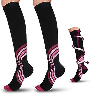 Sasha's Best Compression Socks Women & Men 2 Pairs 15-20mmhg Knee High, Best for Running Nurses,Shin Splints,Flight Travel,Maternity Pregnancy,Graduated Athletic,Boost Stamina Circulation (Medium)