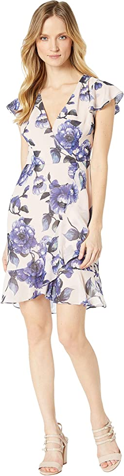 Geranium Printed Faux Wrap Dress
