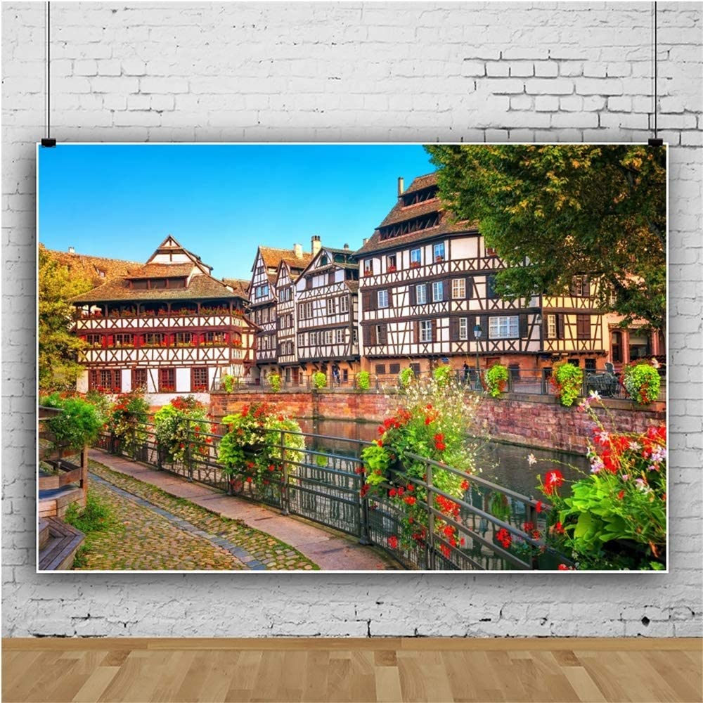 OERJU 15x10ft France Traditional Half Timbered House Backdrop Floral Wedding Ceremony Photography Background Bridal Shower Cake Table Banners Lover Proposal Party Decor Engagement Photo Props