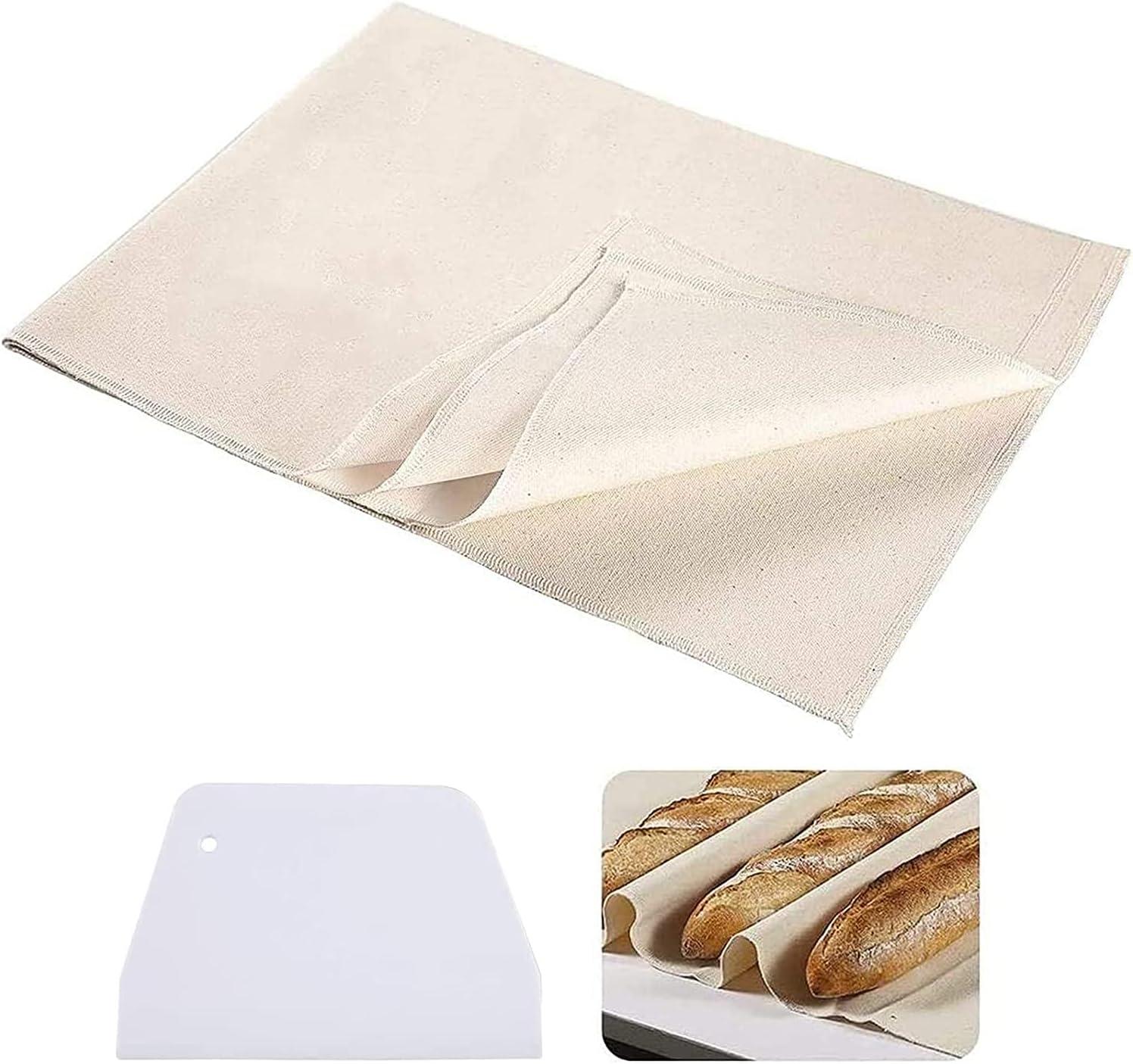 Paño de lino para panadería, paño de lino para fermentación, tela de algodón para hornear masa, panadería, alfombrilla de baguette, bandeja de horneado, accesorio de cocina (70 x 120 cm, 2 unidades)