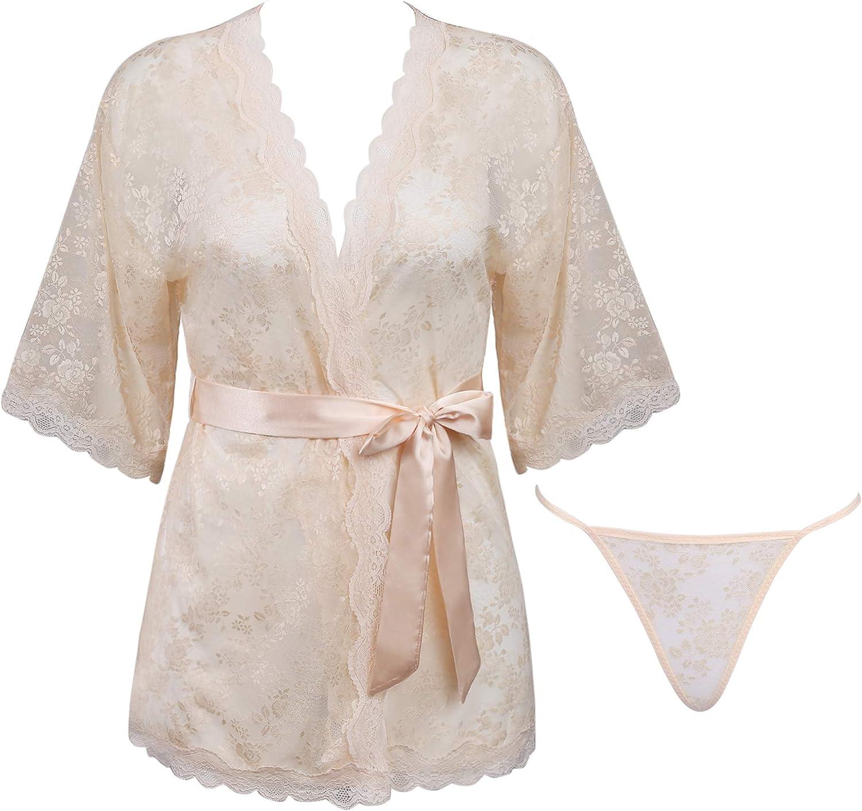 Amorbella Womens Sexy Lace Kimono Lingerie Robe Mesh Babydoll Set Sheer Nightgown