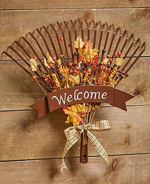 Fall Welcome Sign Rake Harvest Wreath Decoration For Home