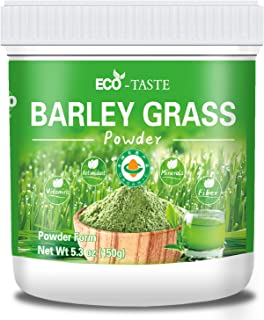 Organic Barley Grass Powder, 100% Pure and Raw, 5.3oz (150g), Rich in Proteins and Fiber, No Fillers, No GMO