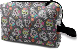Sweet Sugar Skulls Travel Makeup Cute Cosmetic Case Organizer Portable Storage Bag for Women