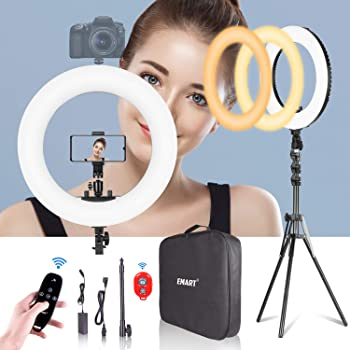 Emart 18-inch Ring Light with Stand, Big Adjustable 3200-5600K LED Lights Ring with Ultra-wide Lighting Area for Camera Photography, YouTube Videos, Makeup (Kit: Phone Holder, Remote, Soft Tube, etc.)