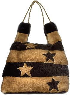 Borsa Shopper Visone Oro e Marrone con stelle intarsiate - 704
