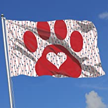 Oaqueen Banderas Paw Print Heart Dog Cat2 Breeze Flag 3 X 5-100% Polyester Single Layer Translucent Flags 90 X 150CM - Banner 3' X 5' Ft