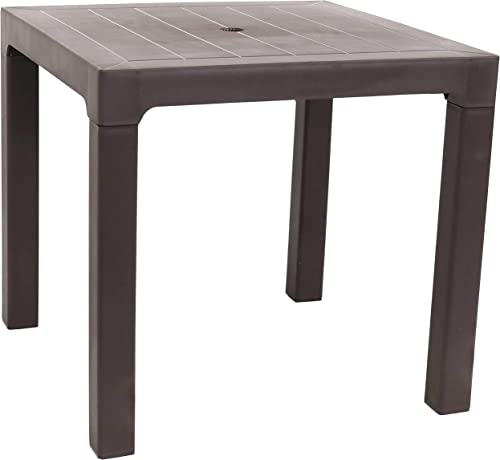 2021 Sunnydaze Square Patio Dining Table - Plastic Indoor/Outdoor Furniture for Deck, Garden, Balcony, Lawn, new arrival Backyard, Porch and Yard - outlet sale Brown - 31-Inch Square online