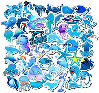 Water Bottle Stickers Marine Animals 49 Pcs Laptop Stickers Pack Decals for Water Bottle Laptops Ipad Cars Luggages