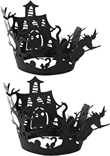 YOOJIA 24Pcs Halloween Decor Cake Cup Holders Weird Spider Web Witch Castle Pattern Cupcake Desserts Decorative Liners for...