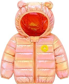 Ommda Dziecięce dziewczęce zimowy ciepły puszysty płaszcz z kapturem maluch odzież wierzchnia pikowana kurtka pomarańczowy...