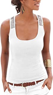 Women's Sequin Vests Casual Tank Tops Sleeveless T Shirt Blouses