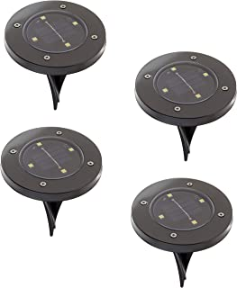 Bell + Howell Disk Lights Gunmetal – Heavy Duty Outdoor Solar Pathway Lights – 4 LED, Auto On/Off, Water Resistant, with Included Stakes, for Garden, Yard, Patio and Lawn - As Seen on TV