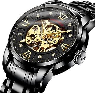 腕時計、機械式 メンズ腕時計 スケルトン ファッション ス テンレススチールウォッチ 高級 防水 自動 自動巻き ローマ数字 ダイヤル 時計 ブラックゴールド