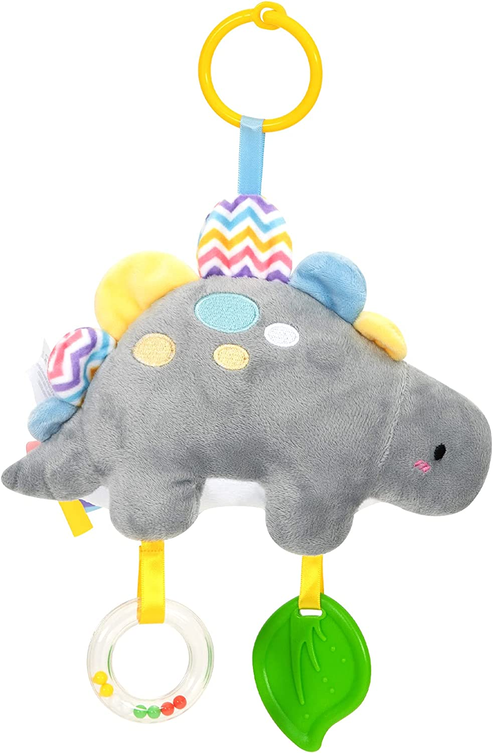 TILLYOU Baby Car Toys & Stroller Toys, Baby Car Seat Toys,Stroller Toys for Baby Boys,Plush Stuffed Gray Dinosaur Animals with Teethers,Clacking Ring and Colorful Ribbons, Activity Toys (Dinosaur)