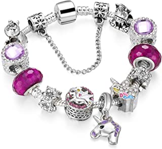 MUERDOU Mother Charms Bracelet for Girls and Women Murano Glass Beads Butterfly Flower Charms Amethyst Bracelets