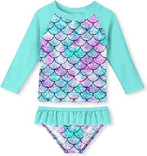 uideazone Girls Long Sleeve Rashguard Set Mermaid Scale Printed Bathing Suit UPF 50+ UV Sun Protection Swimsuit Set,3-4 Years