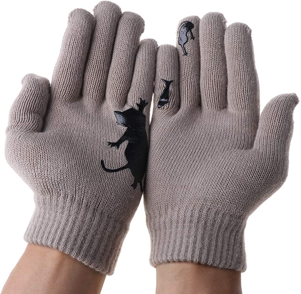 Women Winter Gloves Thick Thermal Gloves Cartoon Cat Fish Irregular Patchwork Stretchy Warm Knit Mittens
