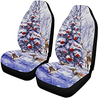 INTERESTPRINT Custom Winter Snowflake Red Car Seat Covers for Front of 2,Vehicle Seat Protector Car Pet Mat Fit Most Car,Truck,SUV,Van