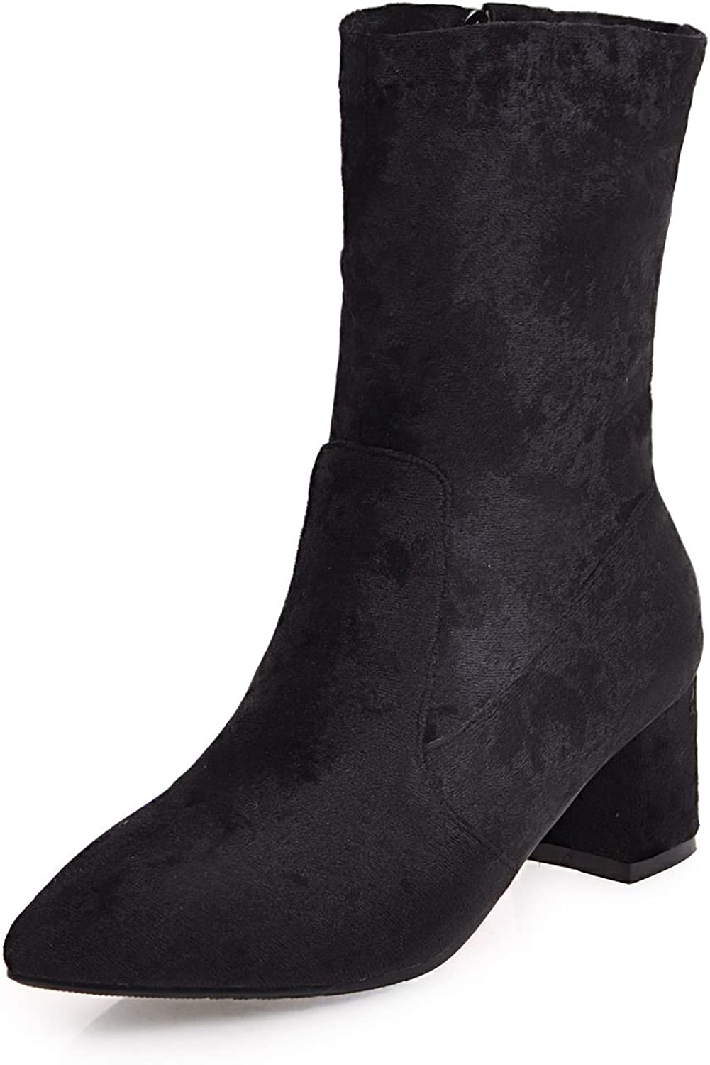 DoraTasia Leisure Suede Mid Calf Thick Heel Women's Pointed Toe Boots