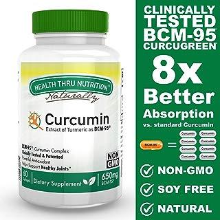 Curcumin as BCM-95® (CURCUGREEN®) 650mg Turmeric Complex (500mg Total Curcuminoids) Non-GMO Soy Free 60 softgels