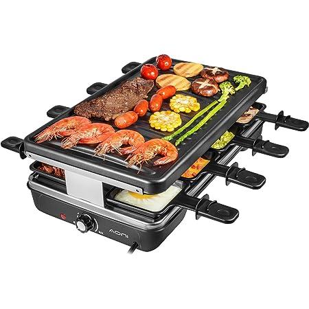 AONI Raclette grill Rauchfreier grill Elektrischer BBQ-Grill mit Antihaft-Grillfläche, 1200W Temperaturregelung, spülmaschinenfest, für 8 Personen
