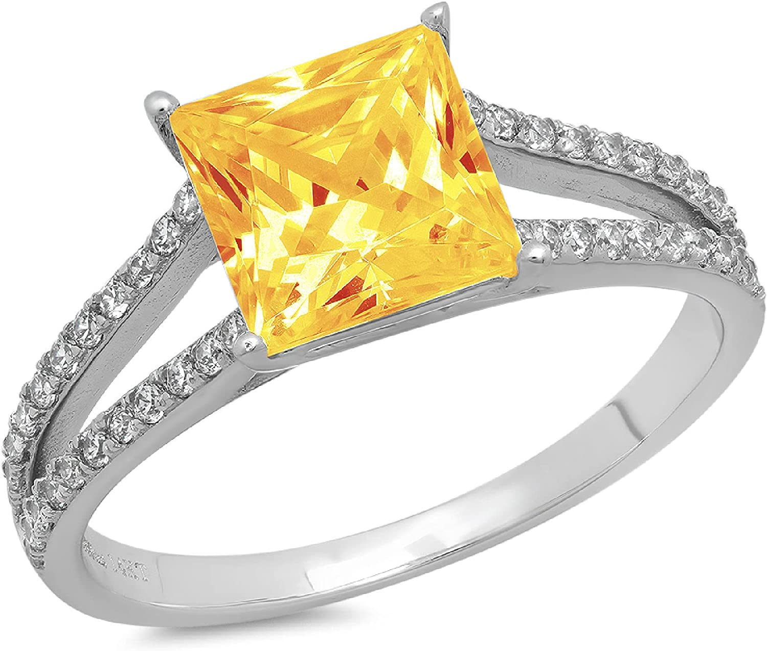 Clara Pucci 2.52 ct Princess Cut St Limited time cheap sale split Ranking TOP12 Solitaire Accent shank