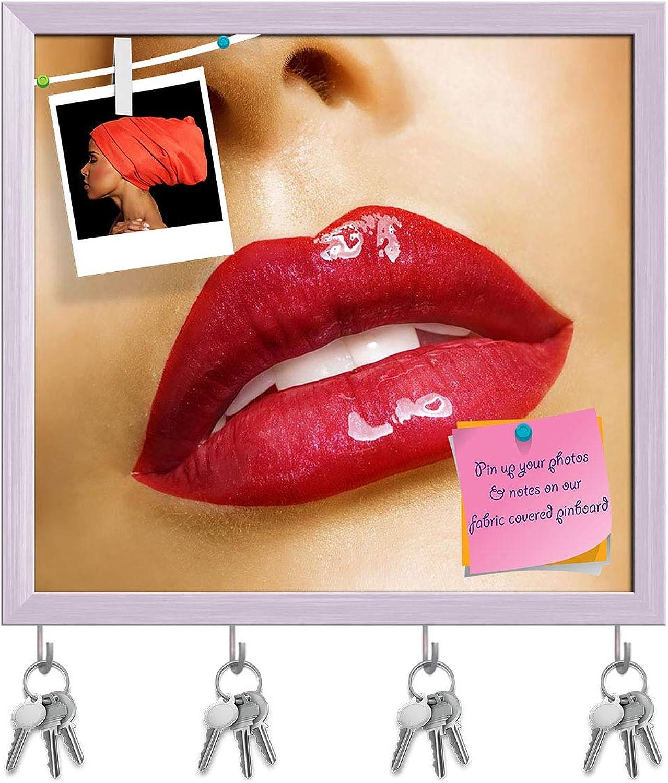 Artzfolio Sensual Mouth Key Holder Hooks   Notice Pin Board   White Frame 17.1 X 16Inch