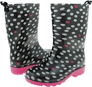 Girls Shiny Polka Dot Chaos Printed Jelly Rain Boot