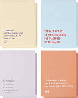 Funny Sarcastic Notepads - 8-Pack Memo Note Pads for Work and Office, Funny Novelty Gift for Adult, Coworker, 4 Assorted Design, 50-Sheet Each, 4.25 x 5.5 Inches