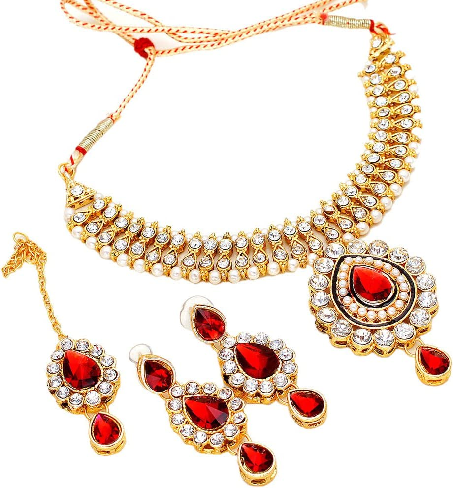 Necklace Indian New Ad Cz Designer Kundan Pearl Polki Natural Jewelry & tika 6524 for Womens Girls
