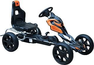 Homcom Go Kart Racing Deportivo Coche de Pedales para Niños de 3-12 Años con Asiento Ajustable Embrague y Freno Ruedas de Goma 122x60x70cm Negro y Naranja