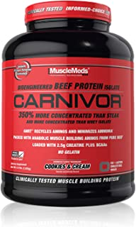 MuscleMeds Carnivor Beef Protein Isolate Powder, Cookies & Cream, 56 Servings, 1820 Gram, 64.1986 ounce, 4 pound