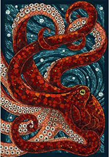 7.9x9.8inch Full Square Drill Mosaic,5d Diamond Painting Fantasy Art Octopus DIY Diamond Embroidery Crafts Home Decoration Art