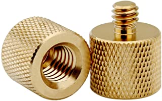 """XINJUE 2 Pieces,(Solid Brass) 3/8""""-16 Internal Thread to 1/4"""" -20 External Thread Screw Adapter for Tripod Accessories Mic..."""