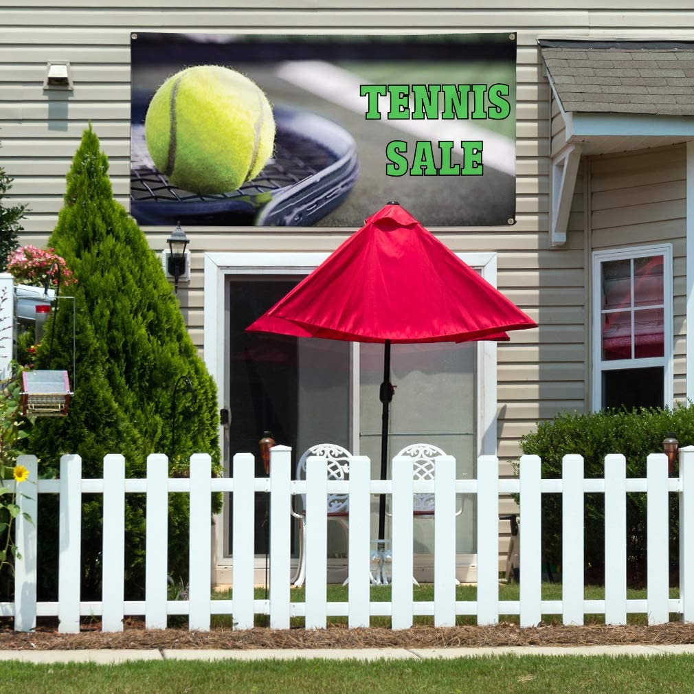 Vinyl Banner Multiple Sizes Tennis Sale Outdoor Advertising Printing D Business Outdoor Weatherproof Industrial Yard Signs Grey 8 Grommets 48x96Inches