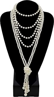 """Zivyes Fashion Faux Pearls 1920s Pearls Necklace Gatsby Accessories Cluster 59"""" Long Necklace for Women"""