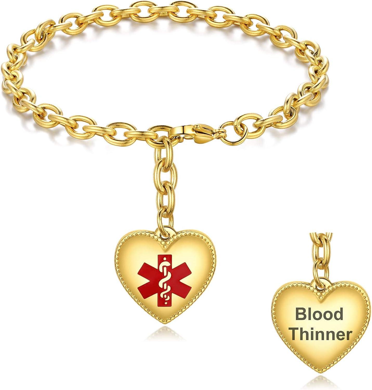 JUST MEET YOU Medical Bracelet for Women - Heart Pendant Medical Alert Bracelet Srainless Steel Medical ID Bracelet Free Engraving Personalized Medical Alert Emergency Bracelet.